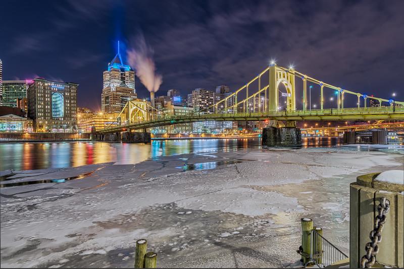 Roberto Clemente Bridge on Ice - Pittsburgh Pennsylvania