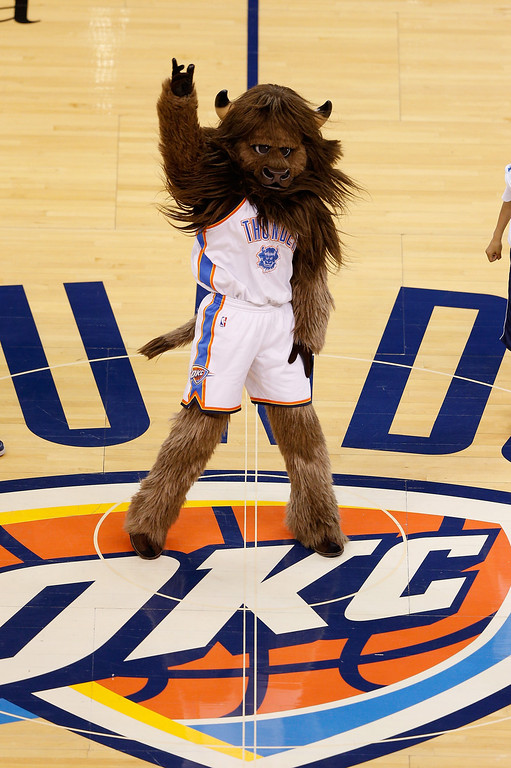 . OKLAHOMA CITY, OK - MAY 25: The Oklahoma City Thunder mascot walks on the court before Game Three of the Western Conference Finals of the 2014 NBA Playoffs against the San Antonio Spurs at Chesapeake Energy Arena on May 25, 2014 in Oklahoma City, Oklahoma.  (Photo by Joe Robbins/Getty Images)
