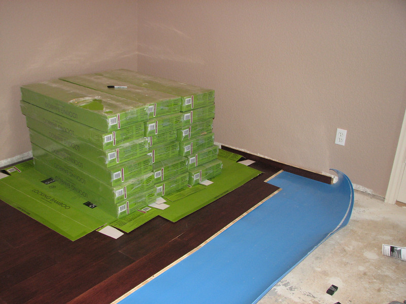 Boxed flooring relocated to finished floor. Not boxes used to protect floor.