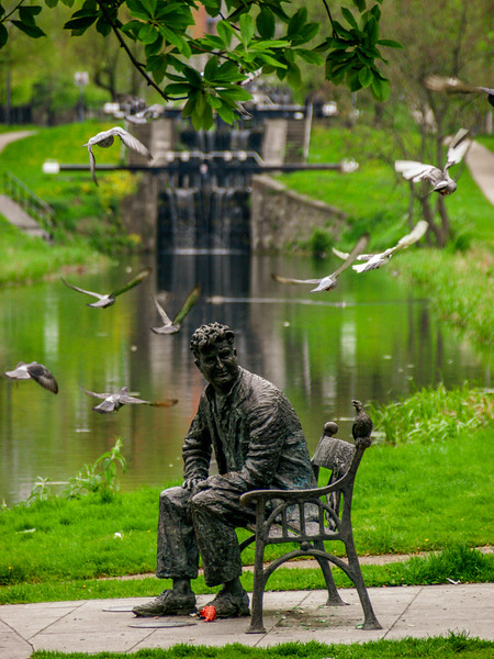 Statue of Brendan Behan by John Coll, by the Royal Canal in Drumcondra