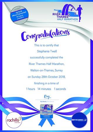 River Thames Half Marathon 2018 Certificates