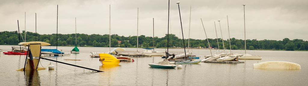 . Capsized boats on Lake Calhoun in Minneapolis. (Photo: Ryan Coleman)