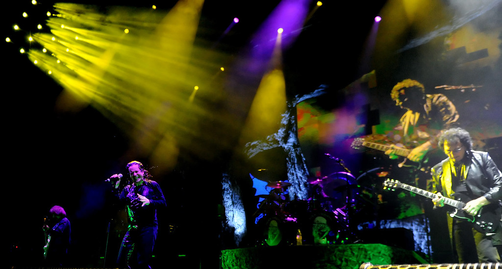 . Black Sabbath featuring vocalist Ozzy Osbourne, center, along with guitarist Tony Lommi, right, bassist Geezer Butler, left, and drummer Tommy Clufetos perform at the Verizon Wireless Amphitheatre on Wednesday, Aug. 28, 2013 in Irvine, Calif.   (Keith Birmingham/Pasadena Star-News)