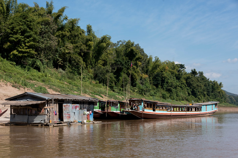 Boats in River Mekong, Laos