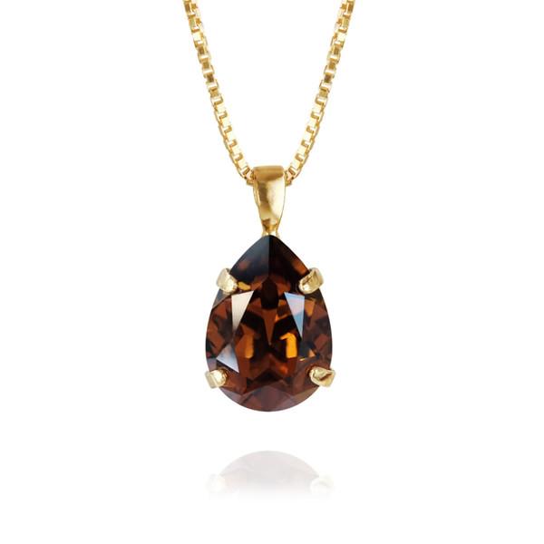 Mini Drop Necklace / Smoked Topaz Gold