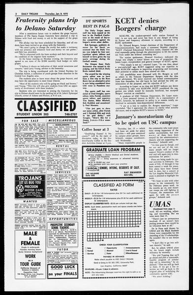 Daily Trojan, Vol. 61, No. 64, January 08, 1970