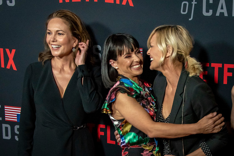 LOS ANGELES, CA - OCTOBER 22: Diane Lane, Constance Zimmer, Robin Wright, Patricia Clarkson and Nini Le Huynh attend the Los Angeles premiere screening of Netflix's 'House Of Cards' Season 6 held at DGA Theater on Monday October 22, 2018 in Los Angeles, California. (Photo by Tom Sorensen/Moovieboy Pictures)