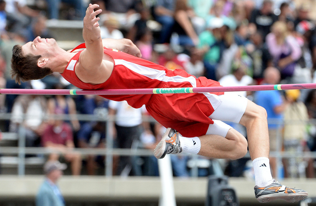 . Corona\'s Tanner Behrens competes in the division 1 high jump during the CIF Southern Section track and final Championships at Cerritos College in Norwalk, Calif., Saturday, May 24, 2014.   (Keith Birmingham/Pasadena Star-News)