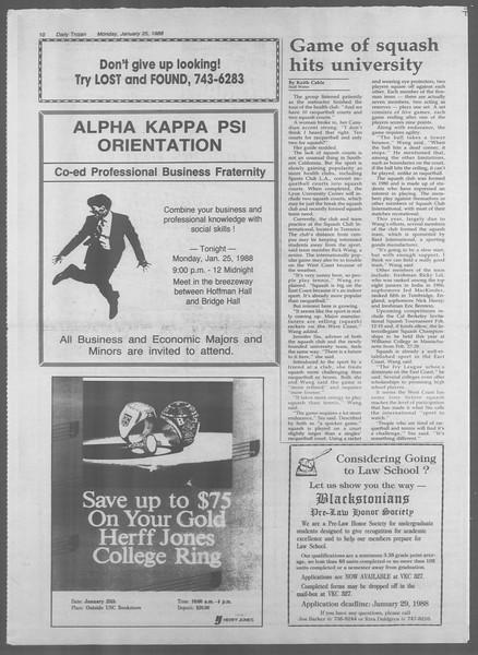 Daily Trojan, Vol. 106, No. 10, January 25, 1988