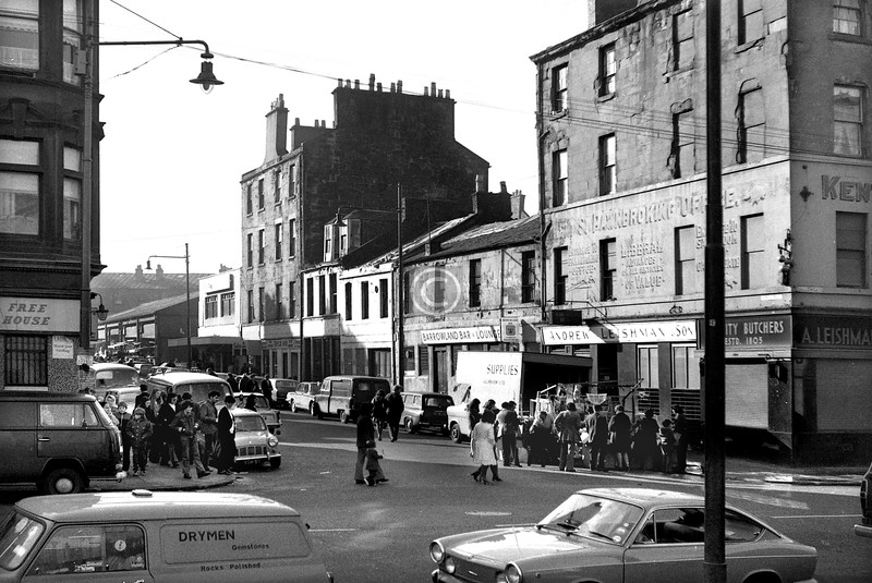 Kent St from the Gallowgate.  Before the iron arch was erected and while the buildings were still full height.    October 1973