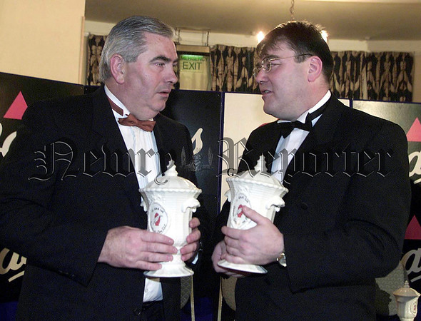"Bass Ulster GAA Writers Awards: 17 Nov 2000<br /> Antrim football manager Brian White (right) voted as ""Personality of the Year""by the Bass Ulster GAA Writers association along with Crossmaglen manager Joe Kernan who was honour as ""Services to GAA"" at the Annual Awards Banquet in The Great Northern Hotell, Bundoran on Friday night with 600 Guests present.<br /> PICTURE IS FREE OF CHARGE COURTSEY OF BASS IRELAND"