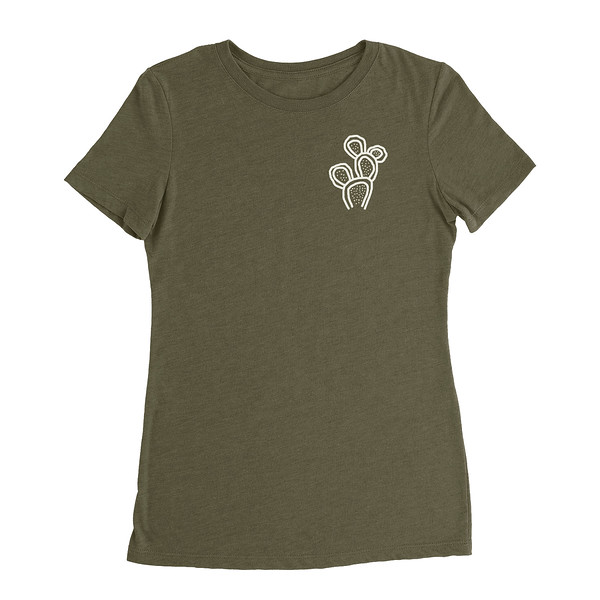 Organ Mountain Outfitters - Outdoor Apparel - Womens T-Shirt - Prickly Pear Cactus Tee - Military Green Front.jpg