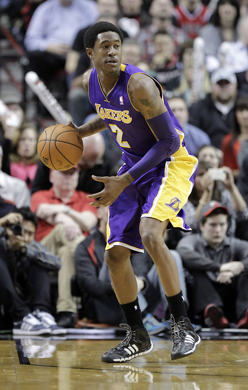 . Los Angeles Lakers guard MarShon Brooks is shown during the second half of an NBA basketball game against the Portland Trail Blazers in Portland, Ore., Monday, March 3, 2014.(AP Photo/Don Ryan)