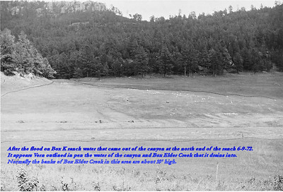 After the flood on Box K ranch water that came out of the canyon at the north end of the ranch 6/9/72.  It appears Vern outlined in pen the water of the canyon and Box Elder Creek that it drains into.  Normally the banks of Box Elder Creek in this area are about 10' high.