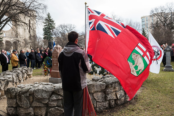 A Louis Riel Commemoration Ceremony at Louis Riel's grave site at the St. Boniface Basilica Grounds Wednesday November 16, 2016. (David Lipnowski for Metro News)