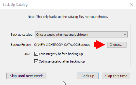 Move lightroom catalog to new computer: Catalog Backup Settings
