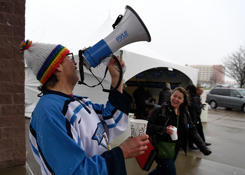 . Bernie Sanders supporter Rene Van Sickle sings little songs on a megaphone at the Colorado Democratic State Convention at the Budweiser Events Center April 17, 2016. (Photo by Andy Cross/The Denver Post)
