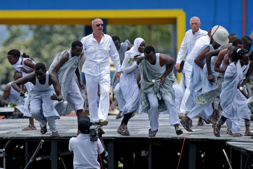 . Actors portray European colonial invaders and native peoples during the commemoration of the 20th anniversary the 1994 genocide at Amahoro Stadium April 7, 2014 in Kigali, Rwanda. (Photo by Chip Somodevilla/Getty Images)