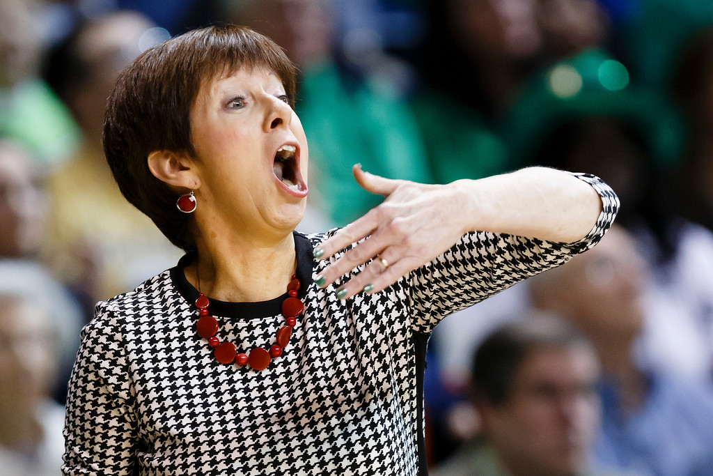 . Notre Dame head coach Muffet McGraw reacts  Arizona State during the first half of the second-round game against Arizona in the NCAA women\'s college basketball tournament in Toledo, Ohio, Monday, March 24, 2014. (AP Photo/Rick Osentoski)