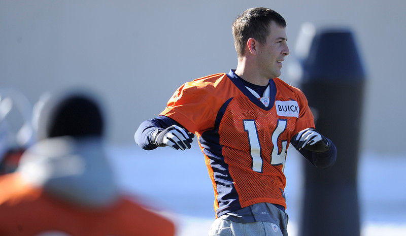 . Denver Broncos wide receiver Brandon Stokley (14) stretches during practice Thursday, December 20, 2012 at Dove Valley.  John Leyba, The Denver Post