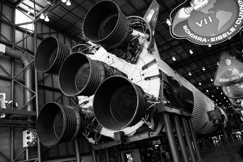 Saturn 5 rocket suspended at Kennedy Space Center