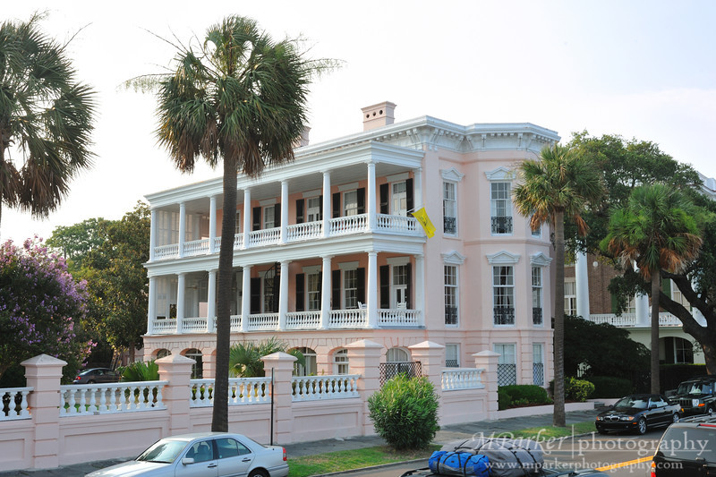 This home was built by Charles Edmonston in 1825. Edmonston made his fortune as a merchant and wharf owner. this house is considered one of the best examples of regency style architecture in Charleston. Charles Alston, a rice planter, bought the house in 1838. Alston added greek revival details to the house such as a piazza with corinthian columns on the third floor and a balustrade above the cornice. General P. G. T. Beauregard CSA watched the shelling of Fort Sumter in 1861 from the piazza. General Robert E. Lee CSA also was a visitor to this home.