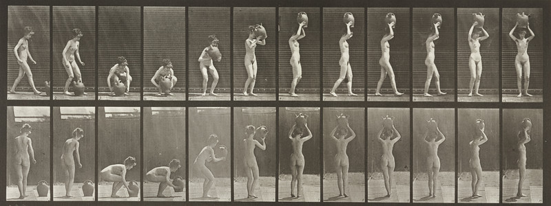 Nude woman stooping, lifting a water jar to head and turning (Animal Locomotion, 1887, plate 222)