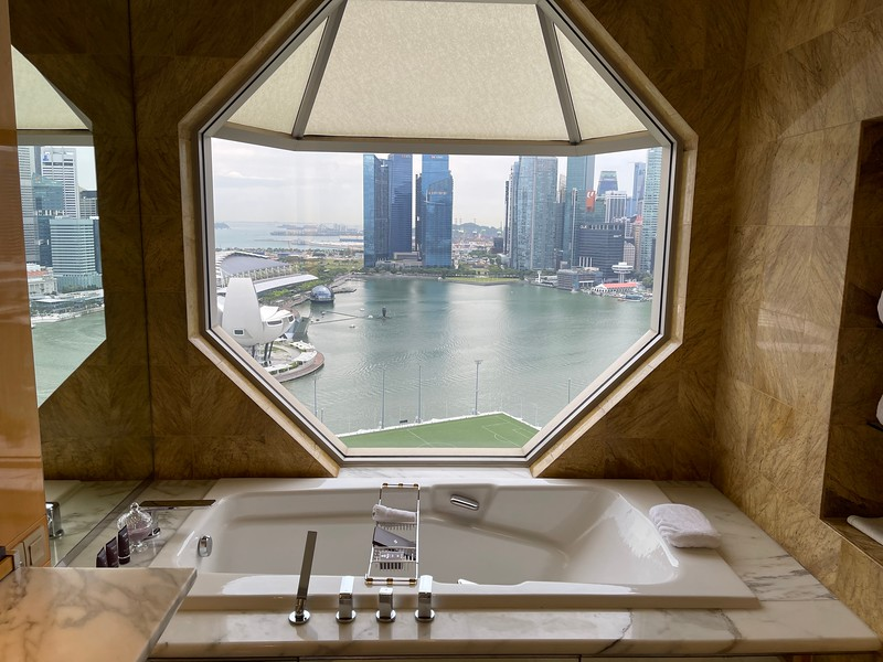 Ritz-Carlton Singapore Club Deluxe Marina Bath Tub with its great view