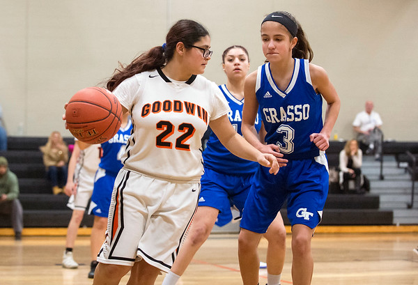 01/31/20 Wesley Bunnell | StaffrrE.C. Goodwin girls basketball defeated Grasso Tech on Friday January 31, 2020 at home. Abneliz Alamo (22).