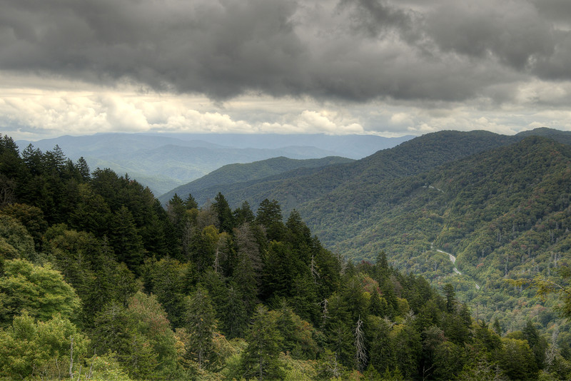 The view of the long and winding road through the park from the Newfound Gap Overlook in the Great Smoky Mountains National Park in Gatlinburg, TN on Sunday, September 28, 2014. Copyright 2014 Jason Barnette