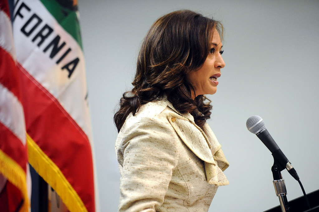 . Attorney General Kamala D. Harris speaks during a press conference on the Prop. 8 ruling in Los Angeles, Ca June 26, 2013.(Andy Holzman/Los Angeles Daily News)