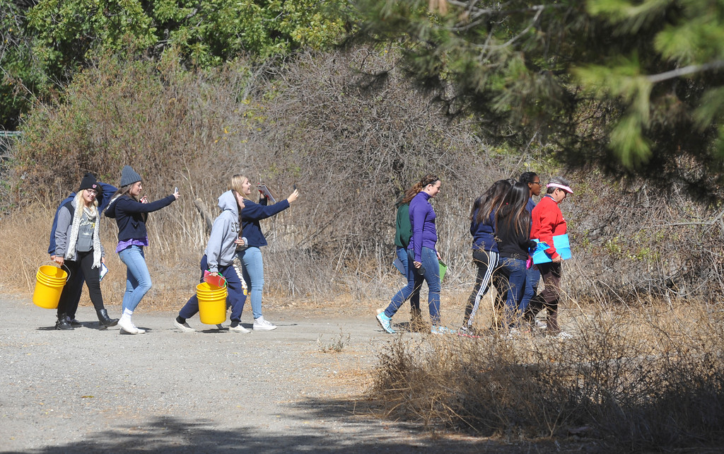 """. Instructors with the Discovery Center lead high school students on a walk to the San Gabriel River as part of the \""""Eco Voices\"""" program at the Whittier Narrows Nature Center in South El Monte Thursday October 10, 2013. Controversies continue around the future San Gabriel River Discovery Center that is supposed to be built where the current buildings stand. (Whittier Daily News/Staff Photo by Keith Durflinger)"""