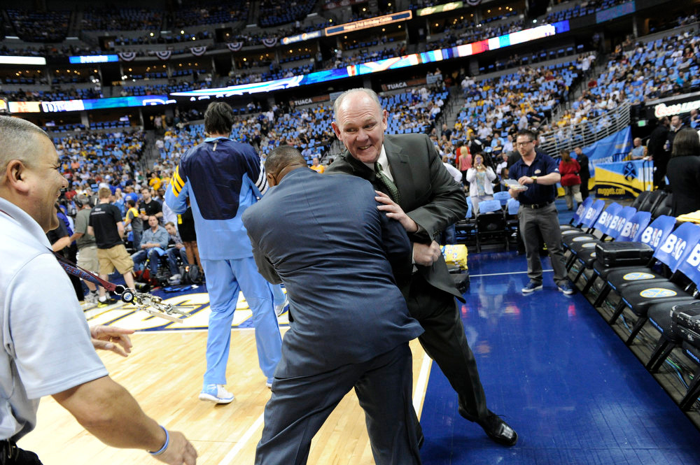 . Denver Nuggets head coach George Karl goofs off before game 3 of the first round of the NBA playoffs Friday, May 4, 2012 at Pepsi Center in Denver Colorado. John Leyba, The Denver Post