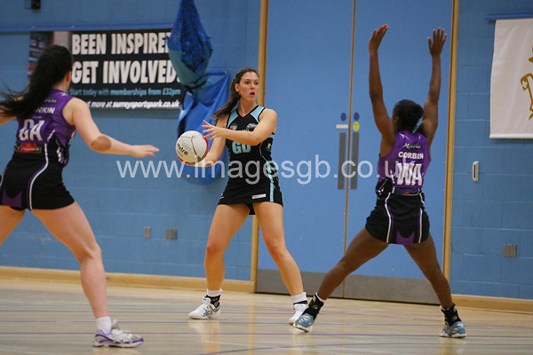 Katy Holland during  Surrey Storms 63 v 42 win against Hertfordshire Mavericks at Surrey Sports Park on the 29 April 2013 (ImagesGB)