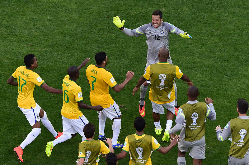 . Brazil\'s players celebrate at the end of the round of 16 football match between Brazil and Chile at The Mineirao Stadium in Belo Horizonte during the 2014 FIFA World Cup on June 28, 2014.(FRANCOIS XAVIER MARIT/AFP/Getty Images)