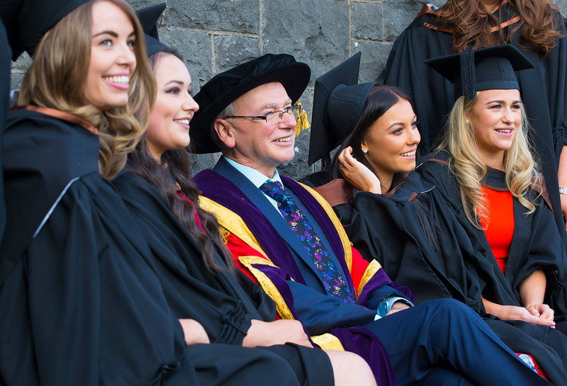 02/11/2016. Waterford Institute of Technology (WIT) Conferring Ceremonies November 2016:   Pictured are Prof. Willie Donnelly, President of WIT with Aoife Bagnall, Carrigaline, Co. Cork, Laura Colfer, Newbawn, Co. Wexford, Emily Ryan, Waterford, Jennifer Butler from Waterford who Graduated B.A. (Hons) in Applied Social Studies in Social Care. Picture: Patrick Browne  Graduates of 2016 are well prepared for an exciting work environment with new industries, having completed their studies in an intellectually open, creative and innovative educational community thanks to the multicultural community at WIT. Just over 2,400 students will be conferred with academic degrees up to doctorate level in 11 conferring ceremonies across three days, from Wednesday, 2 November, 2016.