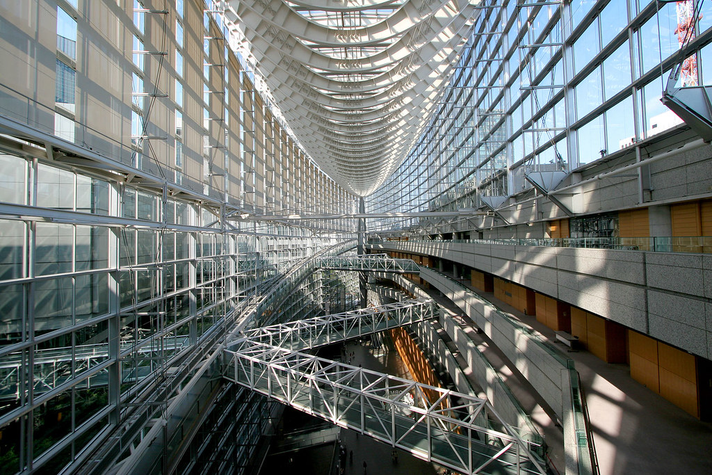 The glass structures of Tokyo International Forum.