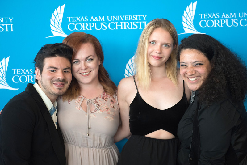 Graduation theatre students (From left to right) Ismael Laura, Emily Roeder, Hannah Kellar, and Mariah Claiborne pose together for their last SAMC Awards Event. Their plans for post graduation range from going to Grad School at Penn State (Mariah), to moving to work at the San Francisco Shakespeare Festival (Ismael).More photos: https://flic.kr/s/aHskzbSb3r