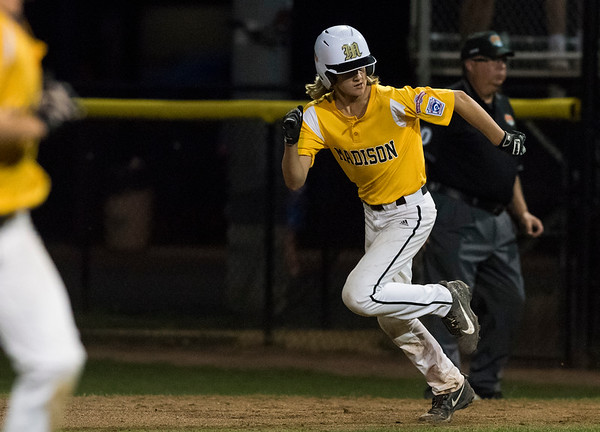 08/06/19 Wesley Bunnell | Staff Connecticut defeated Massachusetts in a Eastern Regional Little League Tournament game on Tuesday night at Breen Field in Bristol. Connecticut's Chase Geremia (13).
