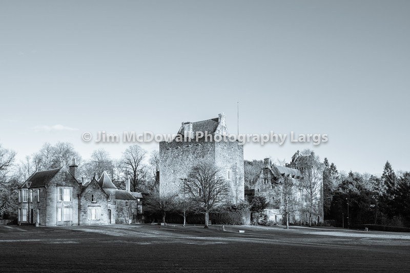 Majestic Buildings of Dean castle in East Ayrshire Kilmarnock Scotland. In Black & White