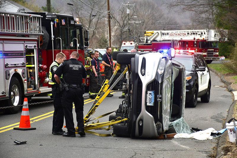 4/18/2019 Mike Orazzi   Staff The scene of a one-car rollover at the intersection of Loper Street and Annelise Avenue in Southington on Thursday afternoon. The driver was extricated and transported from the scene. No more information was available.