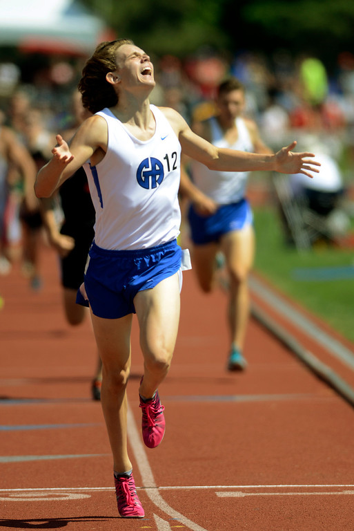 . Maribeth Joeright/MJoeright@News-Herald.com <p> Gilmour\'s Alex Clapacs crosses the finish line in first to win the state championship in the Division III boys 400 meter dash during the state final track and field championships in Columbus, June 7, 2014.