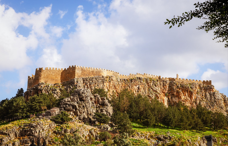 Stone fortress on the top of a hill in Rhodes