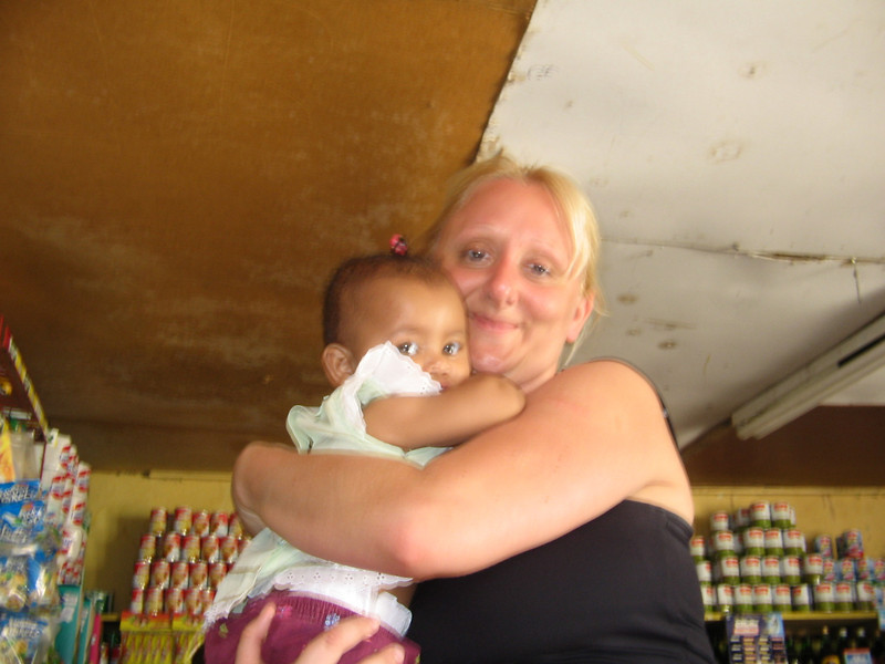 Dragana with the shopkeeper's daughter