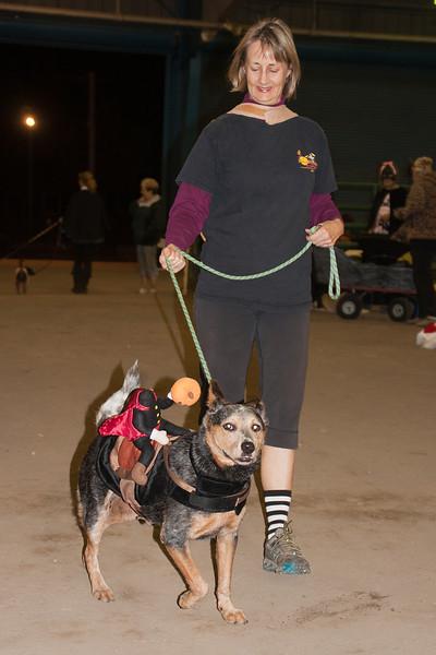 Headless horseman and a giant hotdog.