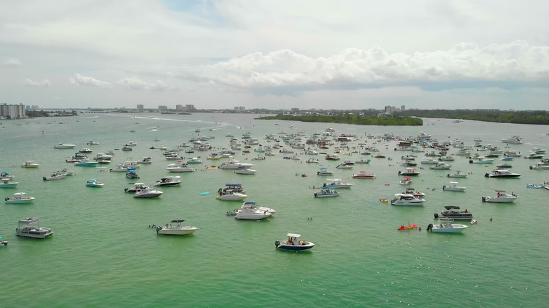 Aerial Miami sandbar weekend summer vacation