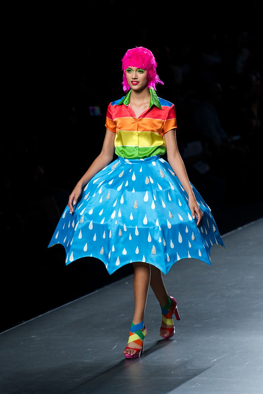 . A model showcases designs by Agatha Ruiz de la Prada on the runway at Agatha Ruiz de la Prada show during Mercedes Benz Fashion Week Madrid Spring/Summer 2015 at Ifema on September 13, 2014 in Madrid, Spain.  (Photo by Carlos Alvarez/Getty Images)