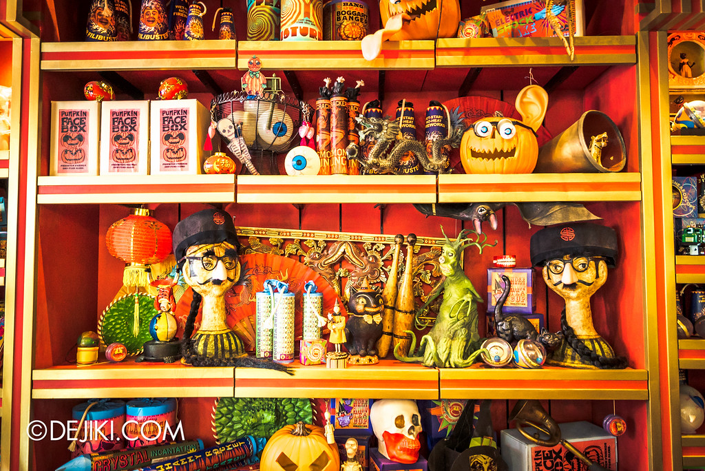 Universal Studios Japan - The Wizarding World of Harry Potter - Hogsmeade Zonko's shelves closeup