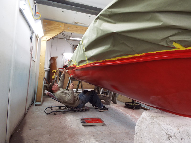 Second coat of red being applied.