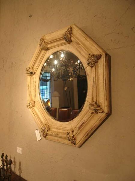 17-Z28 Mirror frame octagonal w-leaves whitepatina.JPG